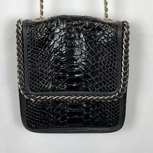 Henri Bendel black exotic skin leather crossbody